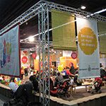 Barcelona city hall stand. Festival of childhood and youth